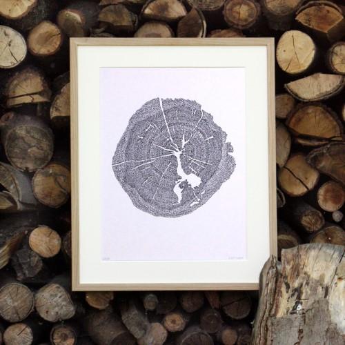 """Kalligrafie - """"Wer sich fürchtet ..."""" – limitierter Kunstdruck 30 x 40 cm"""