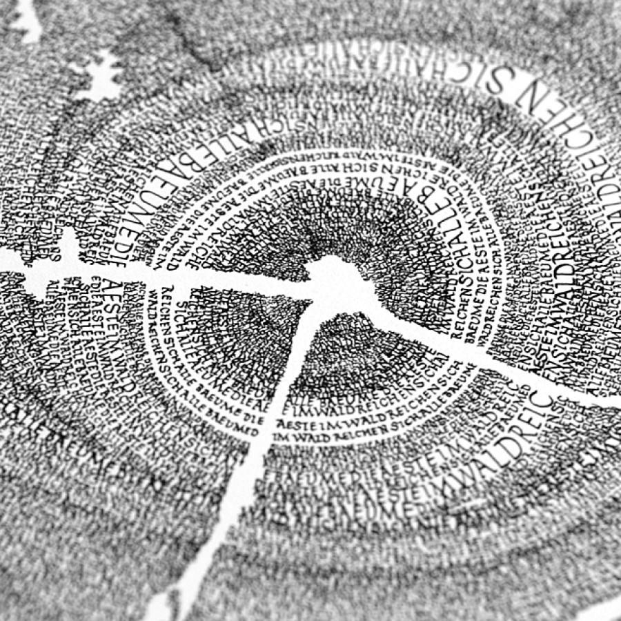 """Kalligrafie - """"Im Wald ..."""" – limitierter Kunstdruck 30 x 40 cm"""
